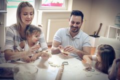 Play and fun in kitchen. stock images