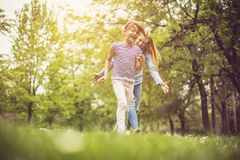 Play and fun at park. stock images