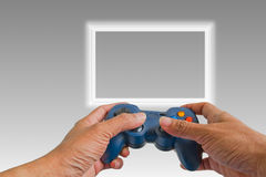 Play game with a joystick Stock Images