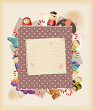 Play the game. Toys, sweets & paper. Background stock illustration