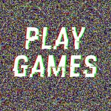 Play Games glitch text. Anaglyph 3D effect. Technological retro background. Vector illustration. Creative web template. Flyer, poster layout. Computer program royalty free illustration