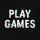 Play Games glitch text. Anaglyph 3D effect. Technological retro background. Vector illustration. Creative web template Royalty Free Stock Photos
