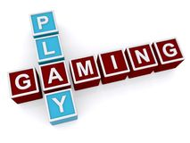 Play gaming sign. 3d letter blocks spelling the words play gaming on a white background Royalty Free Stock Photos