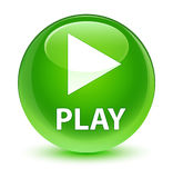 Play glassy green round button Stock Photography