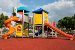 Play Ground. Colorful play ground outside in a sunny day with some green surroundings in the city Royalty Free Stock Photography
