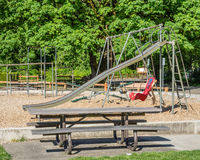 Play ground equipment in a park Stock Photo