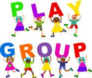 Play group. A group of happy and diverse children holding up letters that spell out the words PLAY GROUP Stock Photos