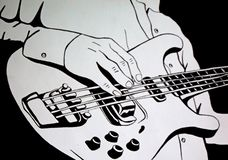Play the guitar. Art illustration royalty free stock photography