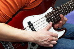 Play on guitar close-up Royalty Free Stock Image