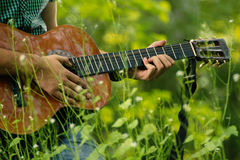 Play guitar in nature Royalty Free Stock Photo