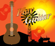 Play Guitar Shows Rock Instrument And Performing Royalty Free Stock Photos
