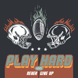 Play hard american football illustration Royalty Free Stock Photo