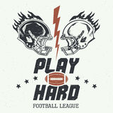 Play hard american football illustration