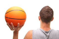 Play with head. Basketball player with ball, isolated on white, simmilar images in my portfolio Stock Photography
