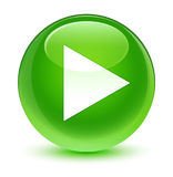 Play icon glassy green round button Royalty Free Stock Photography