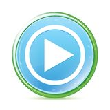Play icon natural aqua cyan blue round button vector illustration