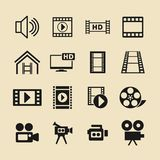Video and cinema vector icon set for web site or app. Play icons. Cinema vector pictograms for site or app Stock Images