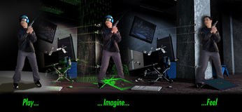 Play... Imagine... Feel. 3 sequences of images about 3D games presenting Royalty Free Stock Image