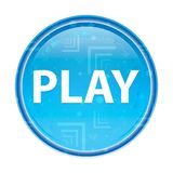 Play floral blue round button stock illustration