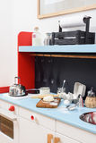 Play kitchen for children with miniature stove, sink, kettle and Stock Photography
