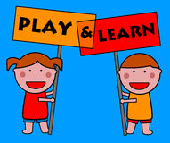 Play and learn. Children playing and learning at school Royalty Free Stock Photo