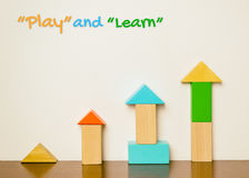 Play and learn education concept colorful wooden toy Royalty Free Stock Photo