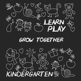 Play Learn and grow together Image on blackboard. Play Learn and grow together Hand drawn vector image Stock Images