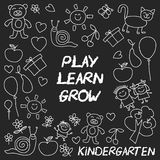 Play Learn and grow together Image on blackboard. Play Learn and grow together Hand drawn vector image Royalty Free Stock Photography