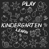Play Learn and grow together Image on blackboard. Play Learn and grow together Hand drawn vector image Stock Image