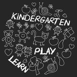 Play Learn and grow together Image on blackboard Royalty Free Stock Images