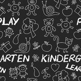 Play Learn and grow together Image on blackboard. Play Learn and grow together Hand drawn vector image Royalty Free Stock Images