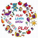 Play Learn and grow together Vector image. Play Learn and grow together Hand drawn vector image Royalty Free Stock Images