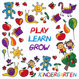 Play Learn and grow together Vector image. Play Learn and grow together Hand drawn vector image Stock Image