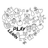 Play Learn and grow together Vector image. Play Learn and grow together Hand drawn vector image Stock Photography