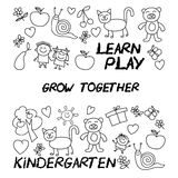 Play Learn and grow together Vector image. Play Learn and grow together Hand drawn vector image Stock Photos