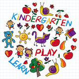 Play Learn and grow together Vector image. Play Learn and grow together Hand drawn vector image Royalty Free Stock Photos