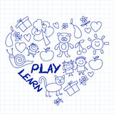 Play Learn and grow together Vector image. Play and grow together Vector image on notebook paper Stock Photography