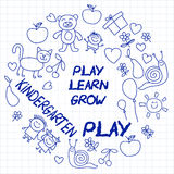 Play Learn and grow together Vector image. Play and grow together Vector image on notebook paper Stock Image