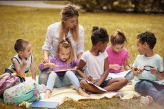 Play and learn.  School children. Royalty Free Stock Images