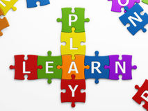 Play learn. Text play learn with clipping path Stock Image