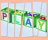 Play Letters Show Fun Enjoyment And Games. Play Letters Showing Fun Enjoyment And Games Royalty Free Stock Photography