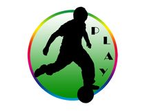 Play logo. Kid playing football silhouette over round green background Stock Photo