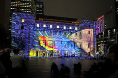 Play Me on Historic Customs House Sydney Australia during Vivid stock photos