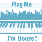 Play me I am yours. Abstract colorful background with piano keyboard under a cityscape and the text play me I am yours written with blue letters royalty free illustration