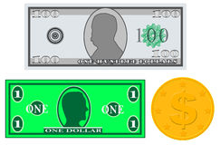 Play Money Banknotes and Coin. Isolated on white. (Not vector) Royalty Free Stock Photos