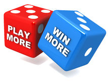 Play more win more. Play more to win more, concept of improving chances of more wins if you play or gamble more, gambling and casino concept Stock Photo