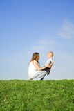 Play with mother 1. Young boy play with mother Royalty Free Stock Image