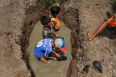 Play on mudhole. Childrens enjoy the day on mudhole in the middle rice field at Bade, Klego, Boyolali, Central java, indonesia Stock Photo