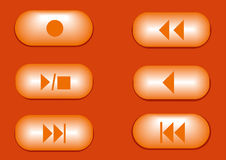 Play music 3d buttons. Six 3d orange music buttons Stock Images