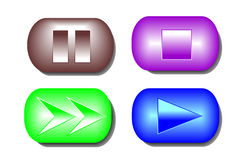 Play music 3d buttons. Four coloured 3d music buttons Royalty Free Stock Image